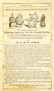 W. & W. H. Lewis Daguerreian Gallery advertisement